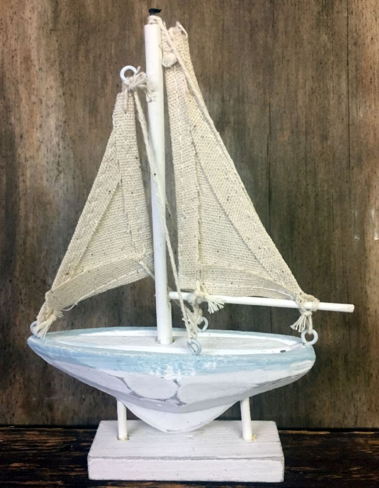 White & Blue Distressed Small Sail Boat Nautical Ornament